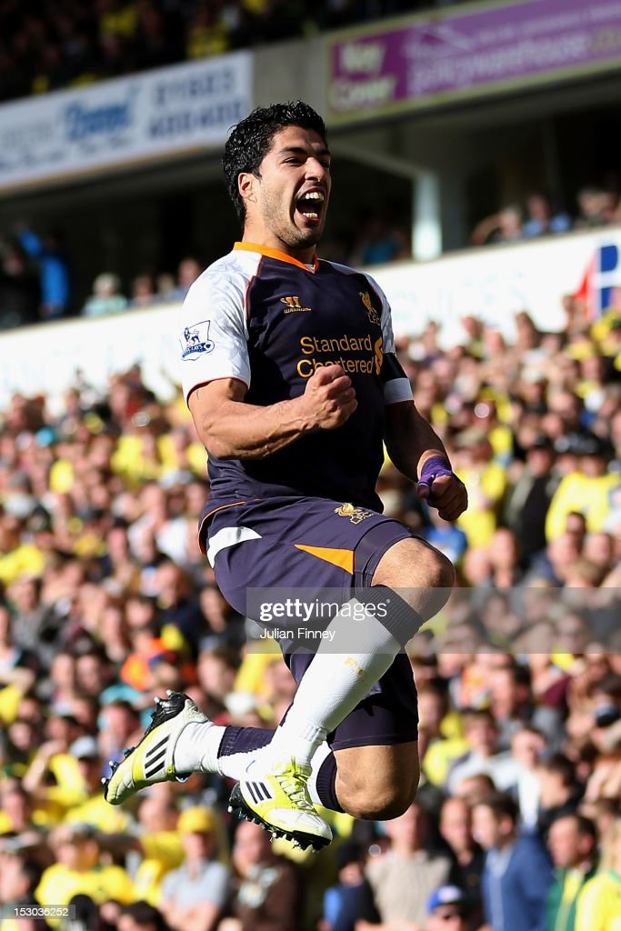 Luis Suarez of Liverpool celebrates scoring his second goal during the Barclays Premier League match between Norwich City and Liverpool at Carrow Road on September 29, 2012 in Norwich, England.