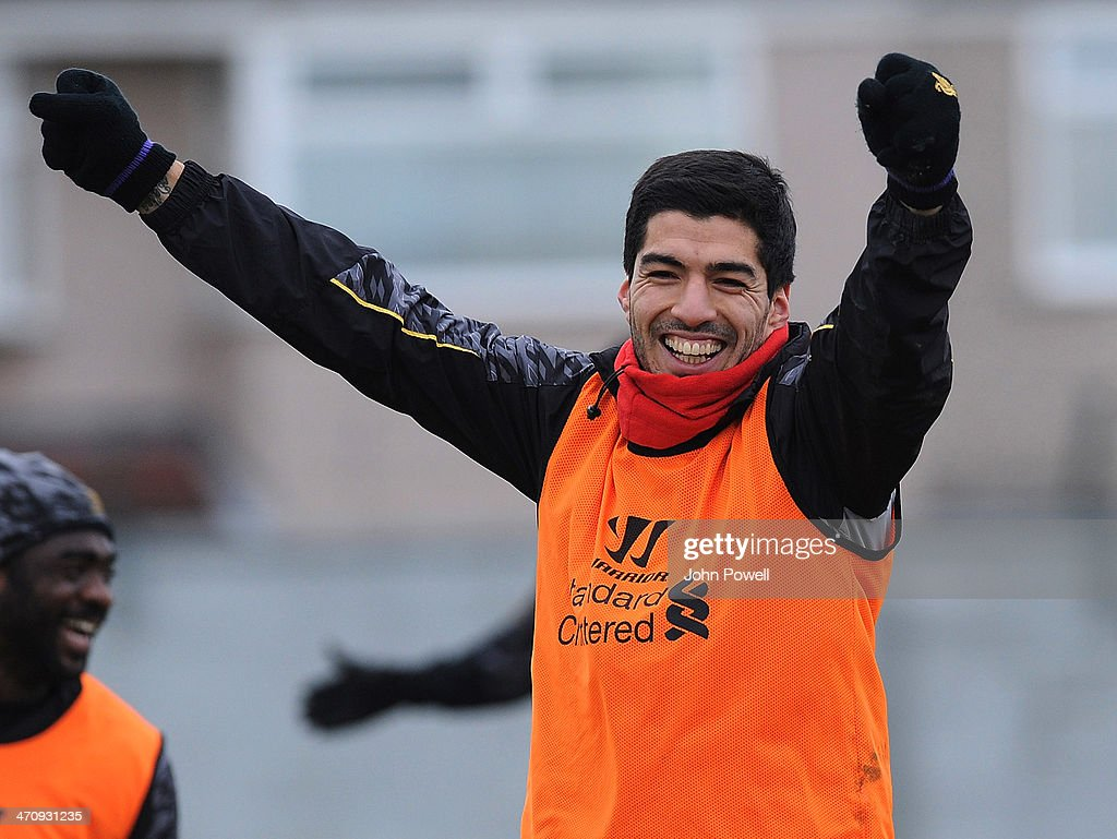 Luis Suarez of Liverpool during a training session at Melwood Training Ground on February 21, 2014 in Liverpool, England.