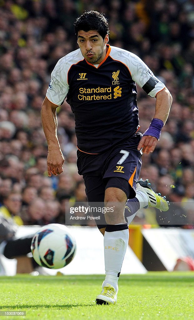 Luis Suarez of Liverpool during the Barclays Premier League match between Norwich City and Liverpool at Carrow Road on September 29, 2012 in Norwich, England.