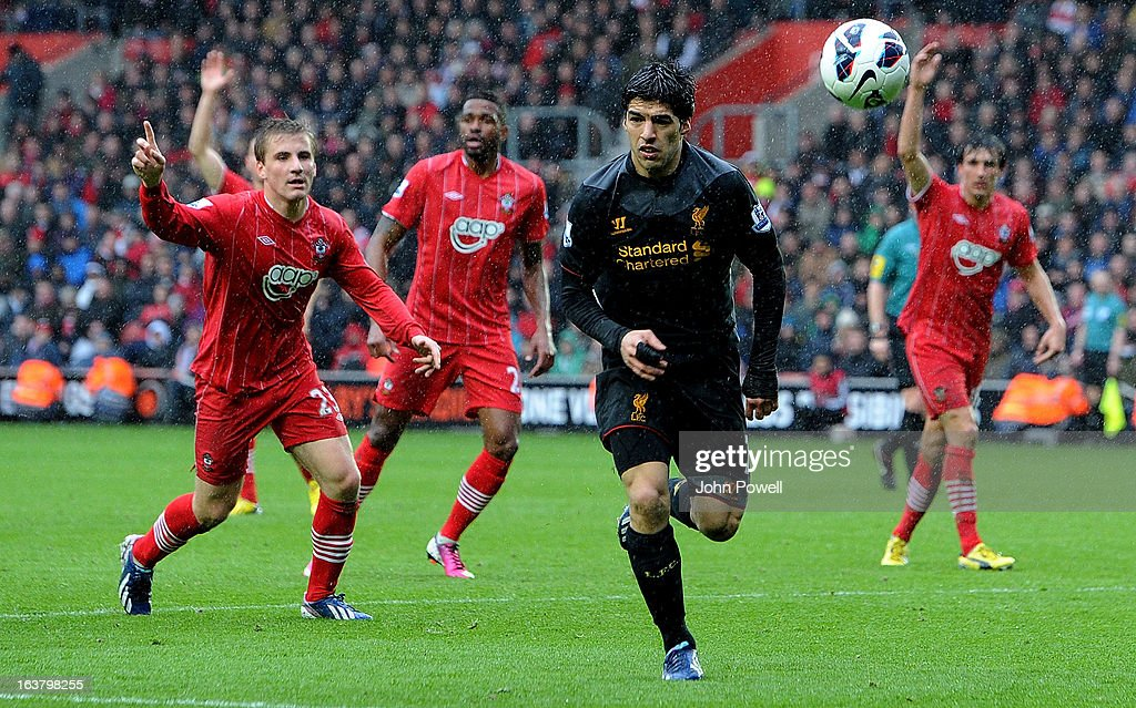 Luis Suarez of Liverpool during the Barclays Premier League match between Southampton and Liverpool at St Mary's Stadium on March 16, 2013 in Southampton, England.
