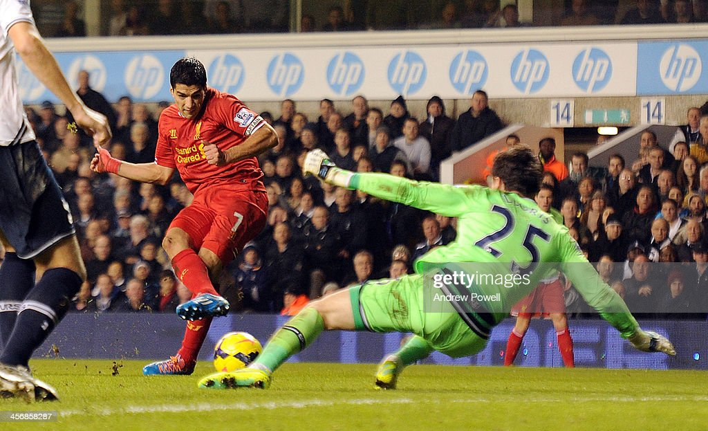Luis Suarez of Liverpool has a shot but <a gi-track='captionPersonalityLinkClicked' href=/galleries/search?phrase=Hugo+Lloris&family=editorial&specificpeople=2501893 ng-click='$event.stopPropagation()'>Hugo Lloris</a> of Tottenham Hotspur makes a great save during the Barclays Premier Leauge match between Tottenham Hotspur and Liverpool at White Hart Lane on December 15, 2013 in London, England.