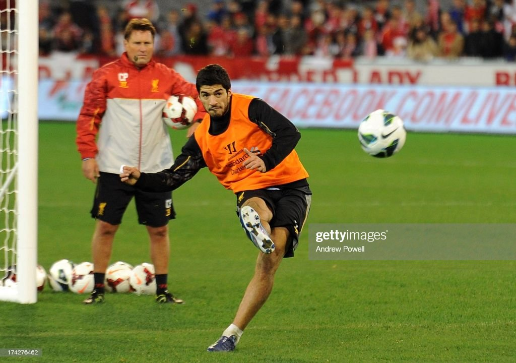 Luis Suarez of Liverpool in aciton during a training session at the MCG Stadium on July 23, 2013 in Melbourne, Australia.