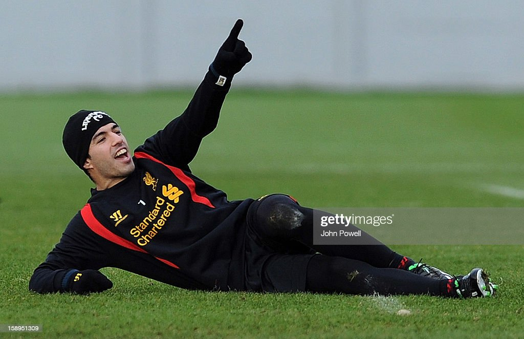 Luis Suarez of Liverpool in action during a training session at Melwood Training Ground on January 4, 2013 in Liverpool, England.