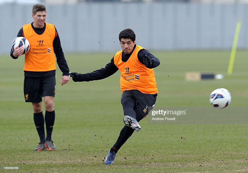 Luis Suarez of Liverpool in action during a training session at Melwood Training Ground on March 8, 2013 in Liverpool, England.
