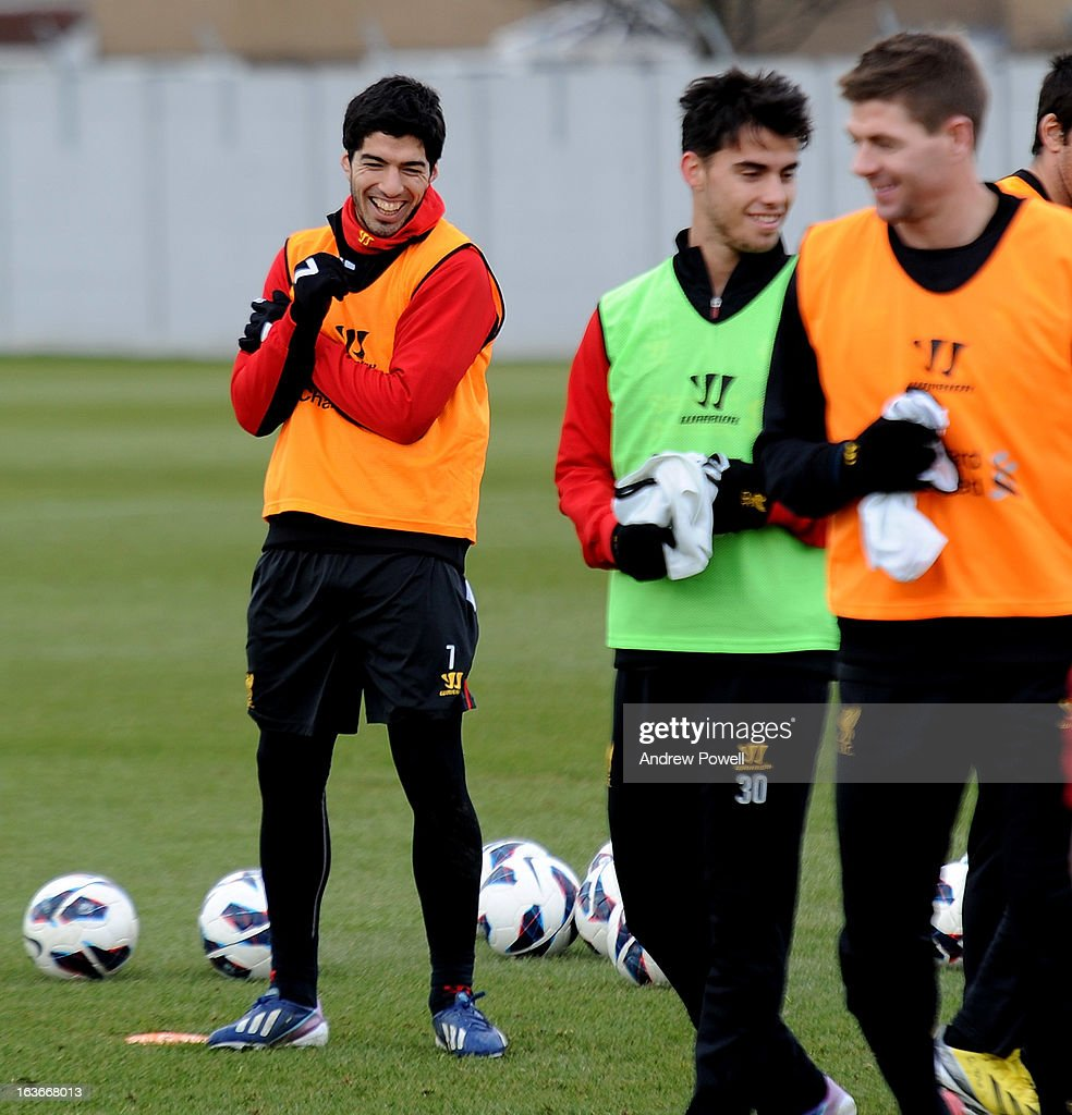 Luis Suarez of Liverpool in action during a training session at Melwood Training Ground on March 14, 2013 in Liverpool, England.