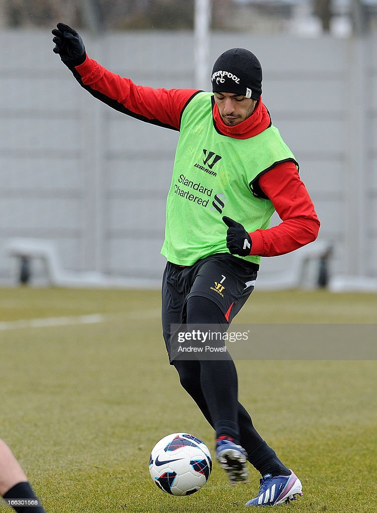 Luis Suarez of Liverpool in action during a training session at Melwood Training Ground on April 11, 2013 in Liverpool, England.
