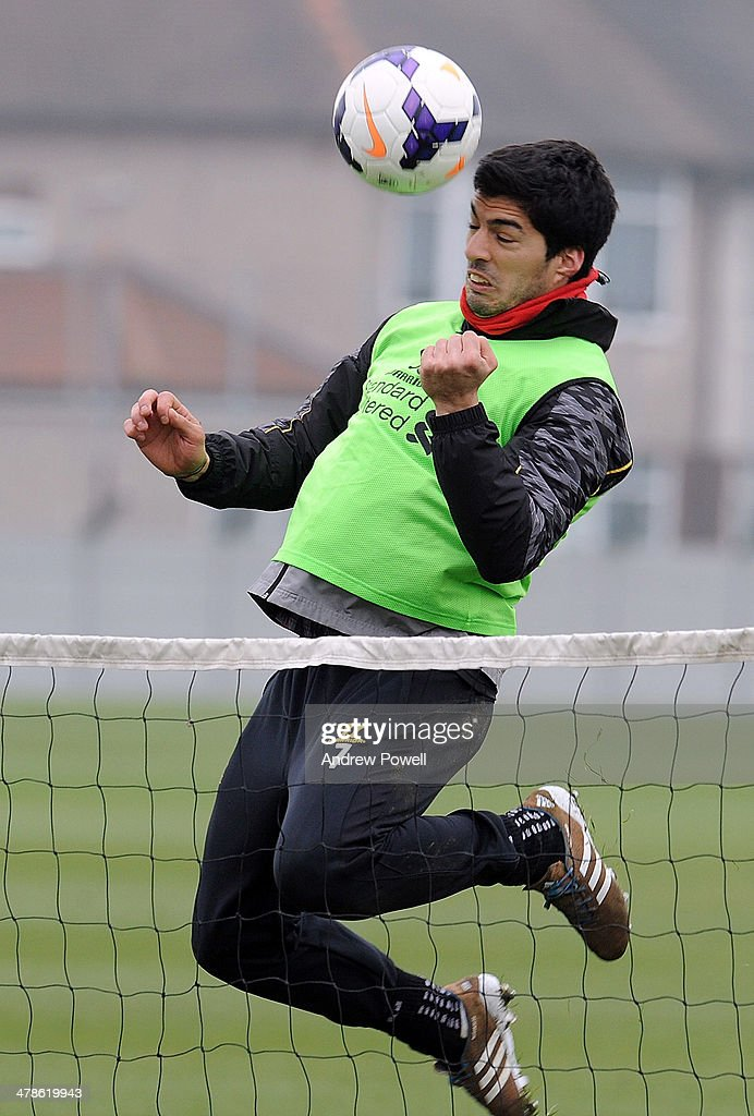 Luis Suarez of Liverpool in action during a training session at Melwood Training Ground on March 14, 2014 in Liverpool, England.