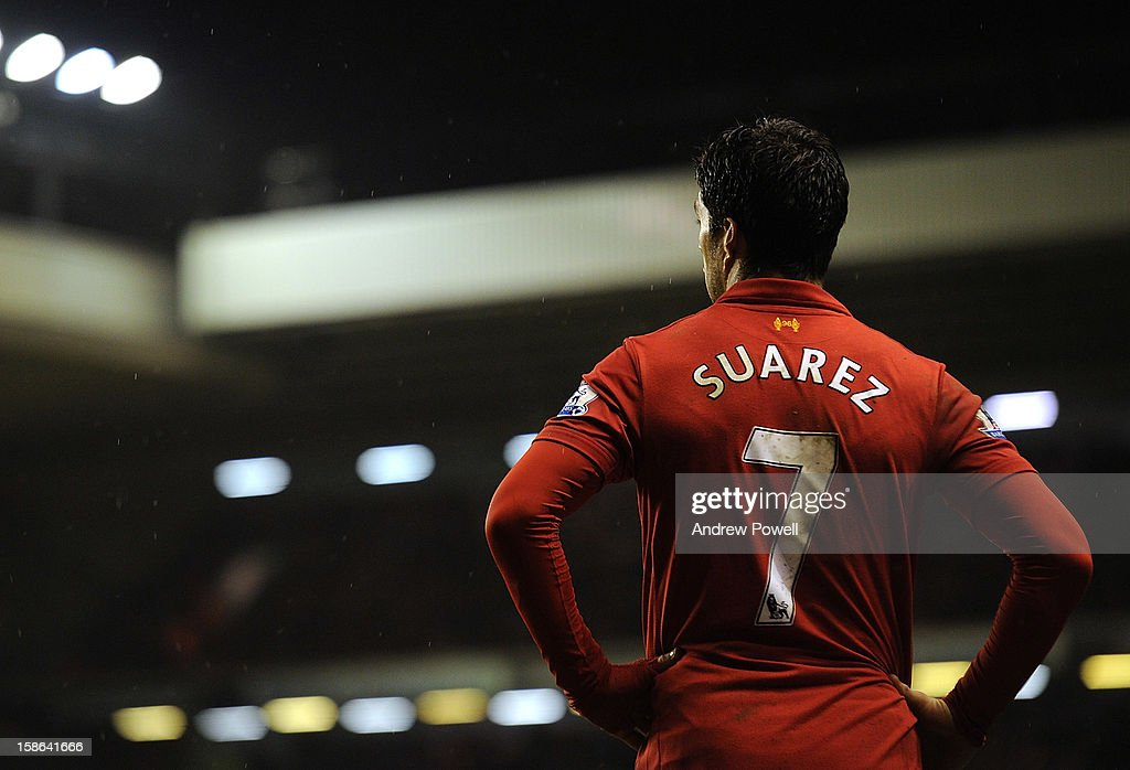 Luis Suarez of Liverpool in action during the Barclays Premier League match between liverpool and Fulham at Anfield on December 22, 2012 in Liverpool, England.