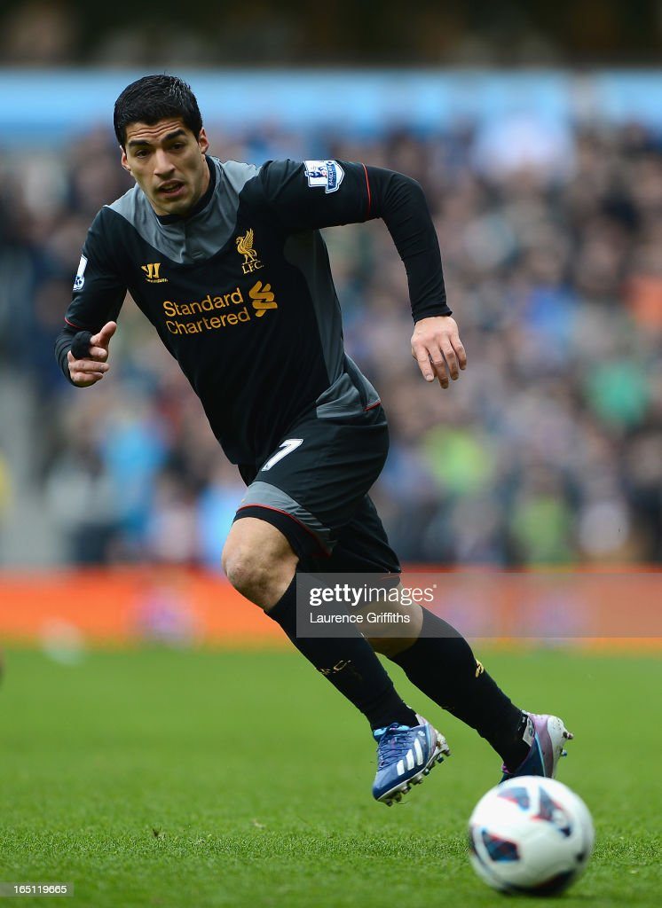 Luis Suarez of Liverpool in action during the Barclays Premier League match between Aston Villa and Liverpool at Villa Park on March 31, 2013 in Birmingham, England.