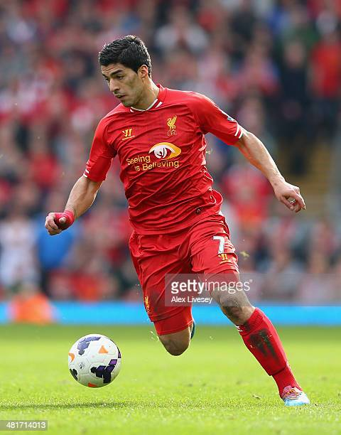 Luis Suarez of Liverpool in action during the Barclays Premier League match between Liverpool and Tottenham Hotspur at Anfield on March 30 2014 in...