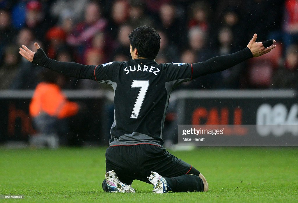 Luis Suarez of Liverpool reacts during the Barclays Premier League match between Southampton and Liverpool at St Mary's Stadium on March 16, 2013 in Southampton, England.