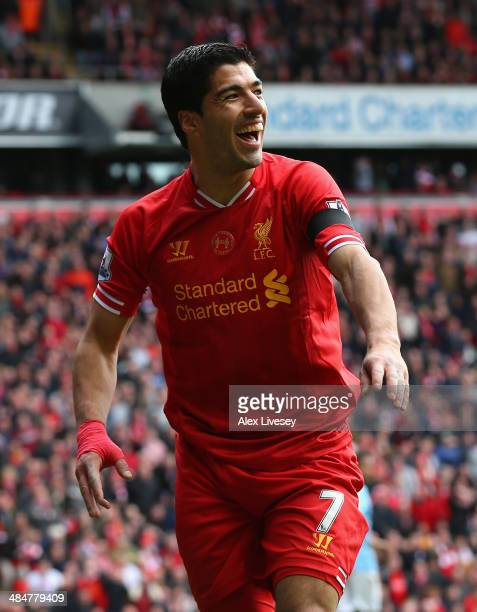 Luis Suarez of Liverpool reacts during the Barclays Premier League match between Liverpool and Manchester City at Anfield on April 13 2014 in...