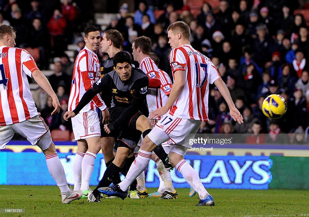 Luis Suarez of Liverpool scores an off-side goal during the Barclays Premier League match between Stoke City and Liverpool at Britannia Stadium on December 26, 2012 in Stoke on Trent, England.