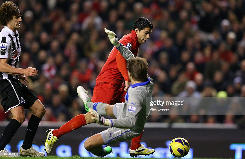 Luis Suarez of Liverpool scores his team's first goal past <a gi-track='captionPersonalityLinkClicked' href=/galleries/search?phrase=Tim+Krul&family=editorial&specificpeople=618004 ng-click='$event.stopPropagation()'>Tim Krul</a> of Newcastle United during the Barclays Premier League match between Liverpool and Newcastle United at Anfield on November 4, 2012 in Liverpool, England.