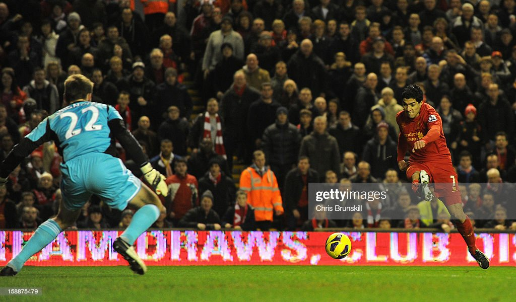 Luis Suarez of Liverpool scores his team's second goal during the Barclays Premier League match between Liverpool and Sunderland at Anfield on January 2, 2013 in Liverpool, England.