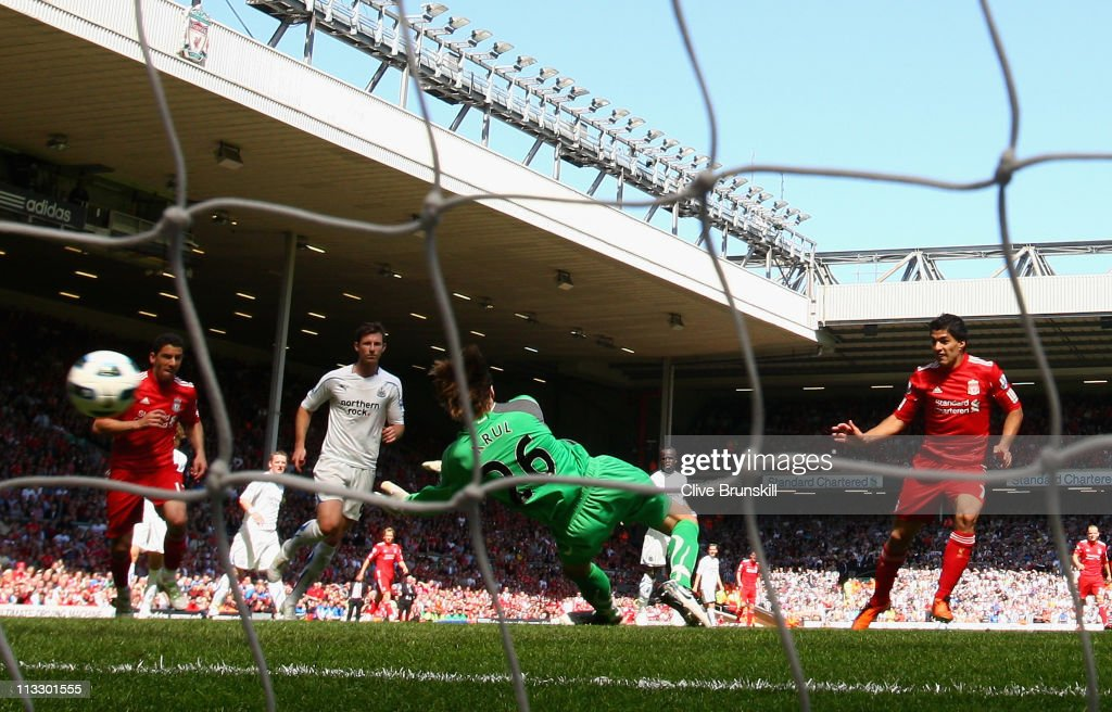 Luis Suarez of Liverpool scores the third goal during the Barclays Premier League match between Liverpool and Newcastle United at Anfield on May 1, 2011 in Liverpool, England.