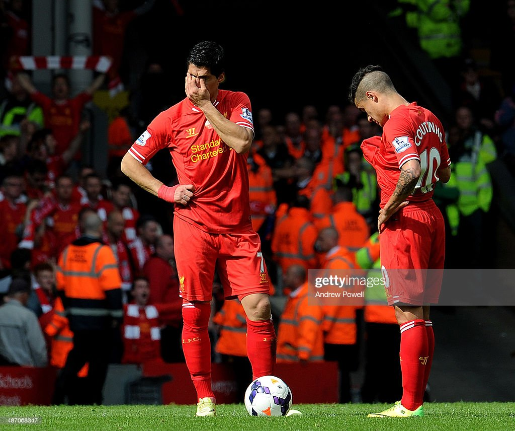Luis Suarez of Liverpool shows his emotions during the Barclays Premier League match between Liverpool and Chelsea at Anfield on April 27, 2014 in Liverpool, England.