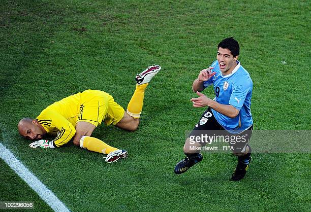 Luis Suarez of Uruguay celebrates scoring during the 2010 FIFA World Cup South Africa Group A match between Mexico and Uruguay at the Royal Bafokeng...