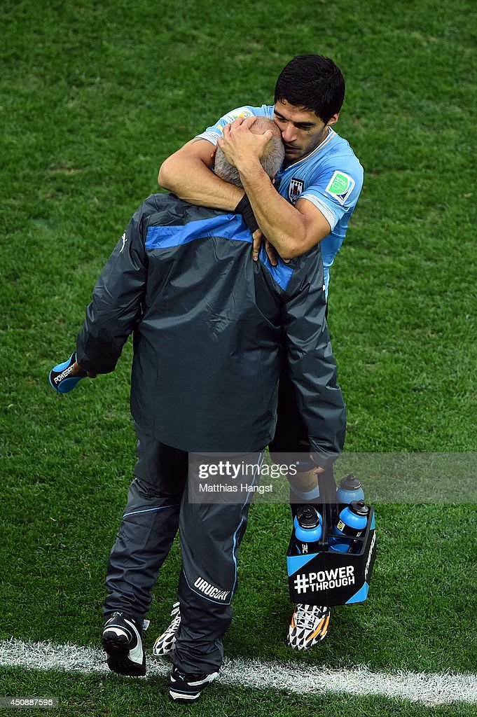 Luis Suarez of Uruguay celebrates scoring his team's first goal during the 2014 FIFA World Cup Brazil Group D match between Uruguay and England at Arena de Sao Paulo on June 19, 2014 in Sao Paulo, Brazil.