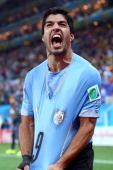 Luis Suarez of Uruguay celebrates scoring his team's second goal during the 2014 FIFA World Cup Brazil Group D match between Uruguay and England at...