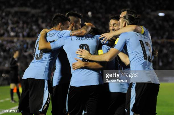 Luis Suarez of Uruguay celebrates with teammates after scoring his team's third goal during a match between Uruguay and Bolivia as part of FIFA 2018...