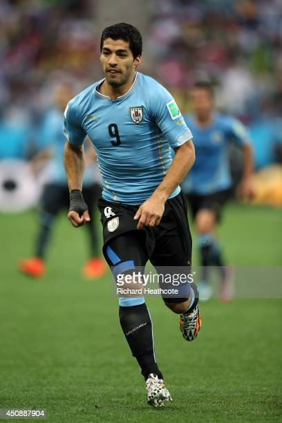Luis Suarez of Uruguay looks on during the 2014 FIFA World Cup Brazil Group D match between Uruguay and England at Arena de Sao Paulo on June 19 2014...