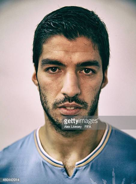 Luis Suarez of Uruguay poses during the official FIFA World Cup 2014 portrait session on June 10 2014 in Belo Horizonte Brazil