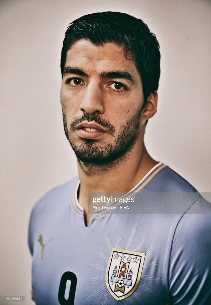 Luis Suarez of Uruguay poses during the official FIFA World Cup 2014 portrait session on June 10, 2014 in Belo Horizonte, Brazil.