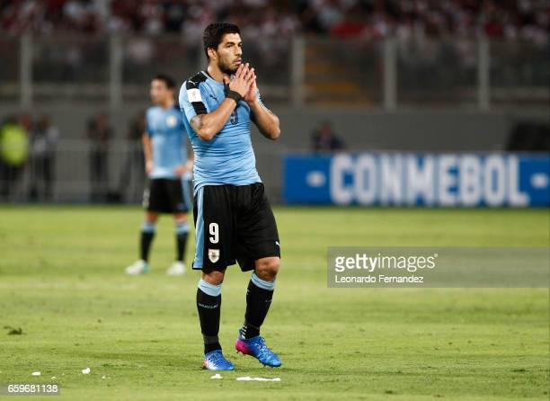 Luis Suarez of Uruguay reacts at the end of a match between Peru and Uruguay as part of FIFA 2018 World Cup at Nacional Stadium on March 28 2017 in...
