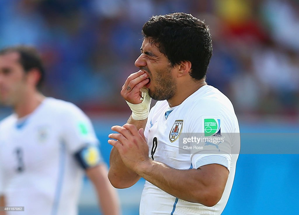Luis Suarez of Uruguay reacts during the 2014 FIFA World Cup Brazil Group D match between Italy and Uruguay at Estadio das Dunas on June 24, 2014 in Natal, Brazil.