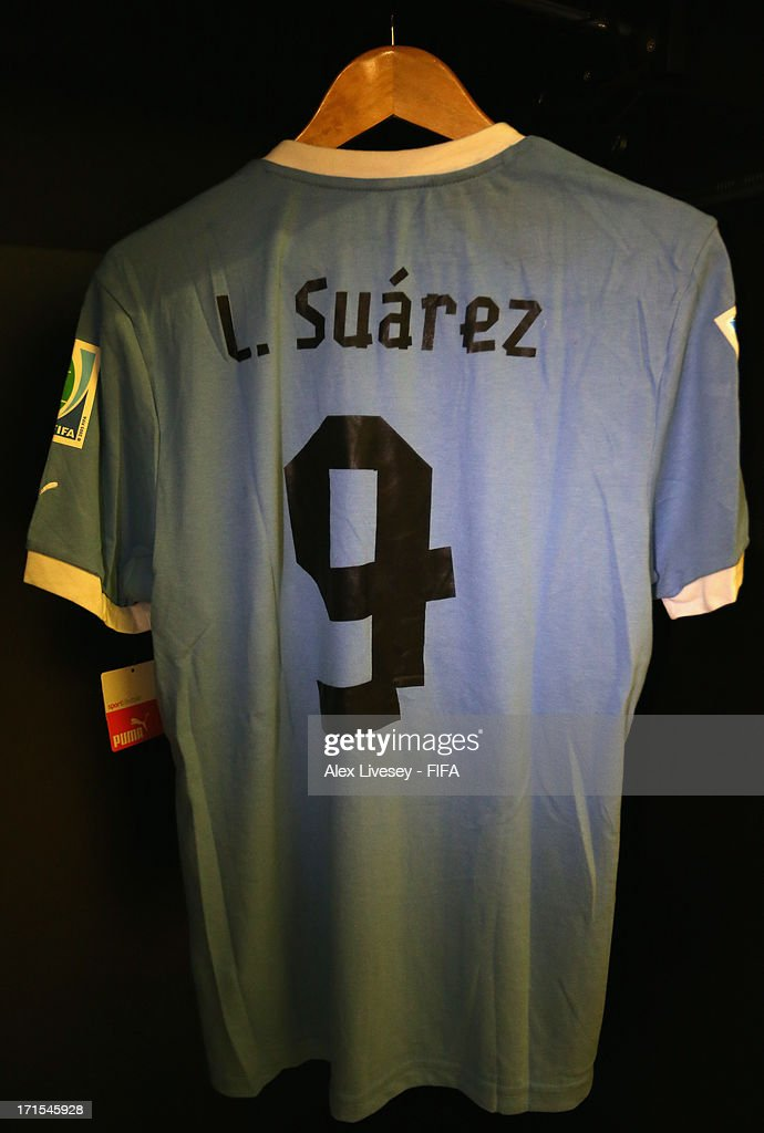 Luis Suarez of Uruguay's shirt hangs in the team dressing room prior to the FIFA Confederations Cup Brazil 2013 Semi Final match between Brazil and Uruguay at Governador Magalhaes Pinto Estadio Mineirao on June 26, 2013 in Belo Horizonte, Brazil.