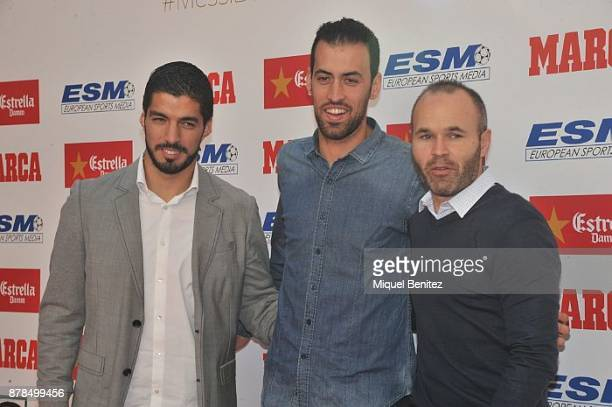 Luis Suarez Sergio Busquets and Andres Iniesta attend the Golden Boot Gala 2017 at the L'Antiga Fabrica Damm on November 24 2017 in Barcelona Spain