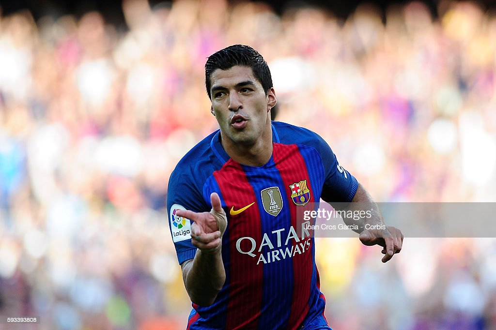 Luis Suárez of F.C.Barcelona, celebrating his goal during the Spanish League match between F.C Barcelona vs Real Betis Balompié at Nou Camp, on August 20, 2016 in Barcelona, Spain.