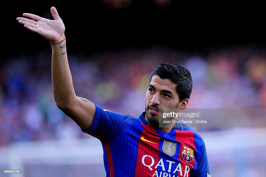 Luis Suárez of F.C.Barcelona during the F.C.Barcelona players launch before the Joan Gamper Trophy match between F.C.Barcelona vs Unione Calcio Sampdoria at Nou Camp on August 10, 2016 in Barcelona, Spain.