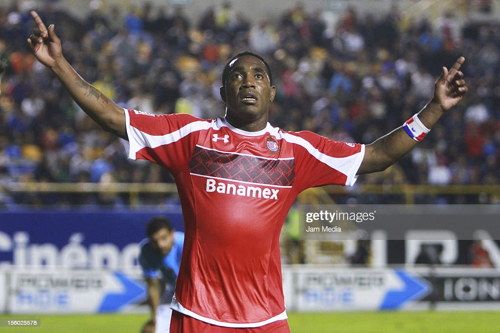 Luis Tejada of Toluca celebrates a scored goal against San Luis during a match between San Luis and Toluca as part of the Apertura 2012 Liga MX at...