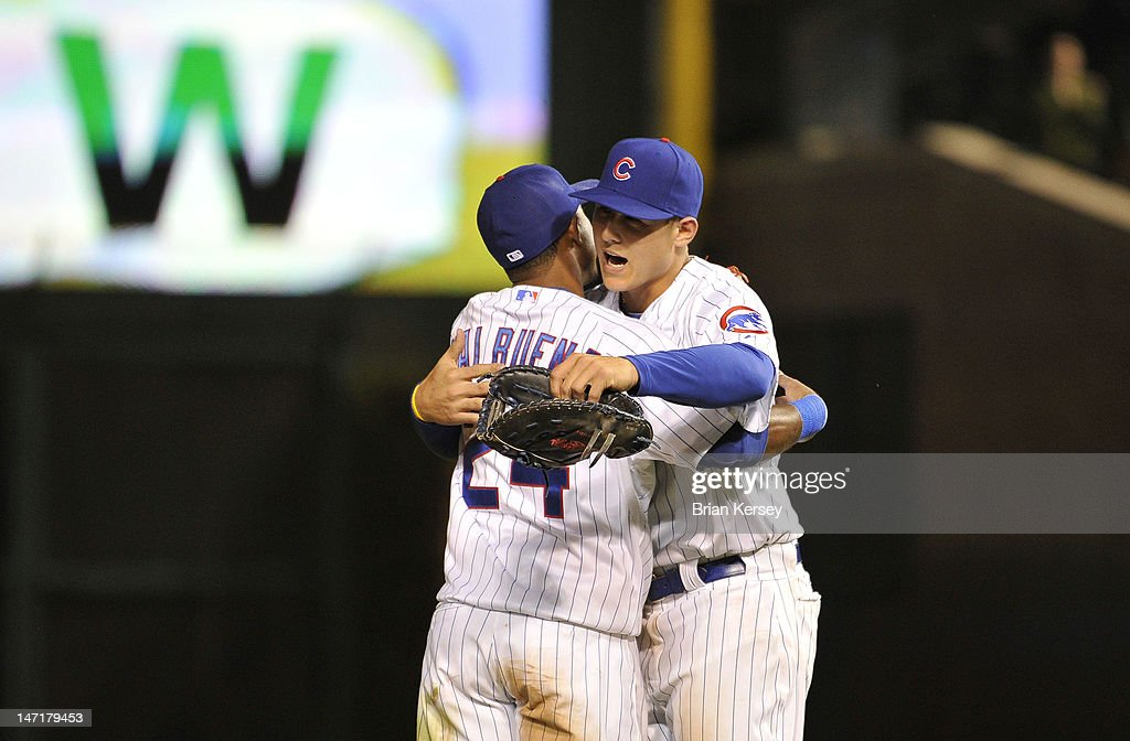 Luis Valbuena #24 of the Chicago Cubs (L) and <a gi-track='captionPersonalityLinkClicked' href=/galleries/search?phrase=Anthony+Rizzo&family=editorial&specificpeople=7551494 ng-click='$event.stopPropagation()'>Anthony Rizzo</a> #44 celebrate their win over the New York Mets at Wrigley Field on June 26, 2012 in Chicago, Illinois. The Cubs defeated the Mets 5-3.