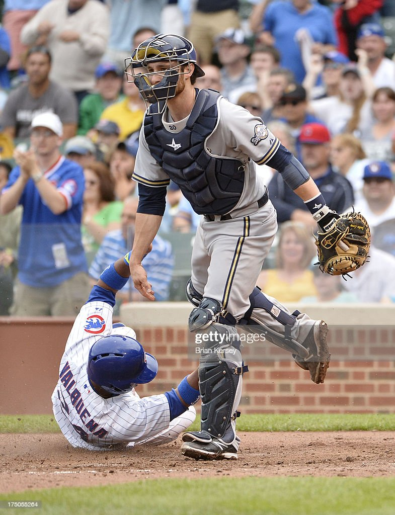<a gi-track='captionPersonalityLinkClicked' href=/galleries/search?phrase=Luis+Valbuena&family=editorial&specificpeople=5537111 ng-click='$event.stopPropagation()'>Luis Valbuena</a> #24 of the Chicago Cubs (L) scores past catcher <a gi-track='captionPersonalityLinkClicked' href=/galleries/search?phrase=Jonathan+Lucroy&family=editorial&specificpeople=5732413 ng-click='$event.stopPropagation()'>Jonathan Lucroy</a> #20 of the Milwaukee Brewers on an RBI single hit by Welington Castillo #53 during the fifth inning at Wrigley Field on July 30, 2013 in Chicago, Illinois.