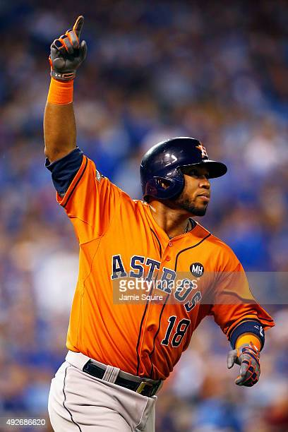 Luis Valbuena of the Houston Astros celebrates after hitting a tworun home run in the second inning against the Kansas City Royals during game five...