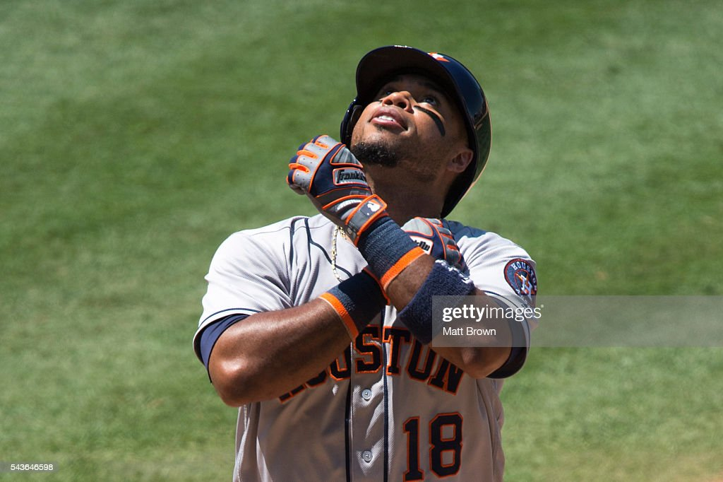 <a gi-track='captionPersonalityLinkClicked' href=/galleries/search?phrase=Luis+Valbuena&family=editorial&specificpeople=5537111 ng-click='$event.stopPropagation()'>Luis Valbuena</a> #18 of the Houston Astros celebrates as he crosses the plate after hitting a solo home run during the seventh inning of the game against the Los Angeles Angels of Anaheim at Angel Stadium of Anaheim on June 29, 2016 in Anaheim, California.
