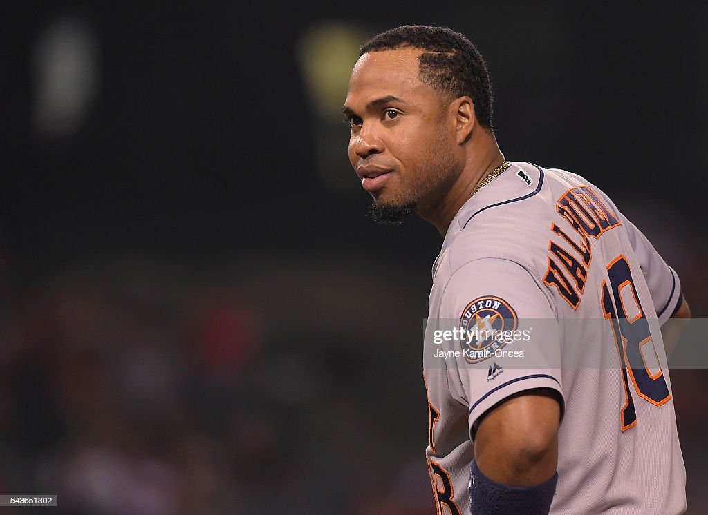 <a gi-track='captionPersonalityLinkClicked' href=/galleries/search?phrase=Luis+Valbuena&family=editorial&specificpeople=5537111 ng-click='$event.stopPropagation()'>Luis Valbuena</a> #18 of the Houston Astros during the game against the Los Angeles Angels at Angel Stadium of Anaheim on June 27, 2016 in Anaheim, California.