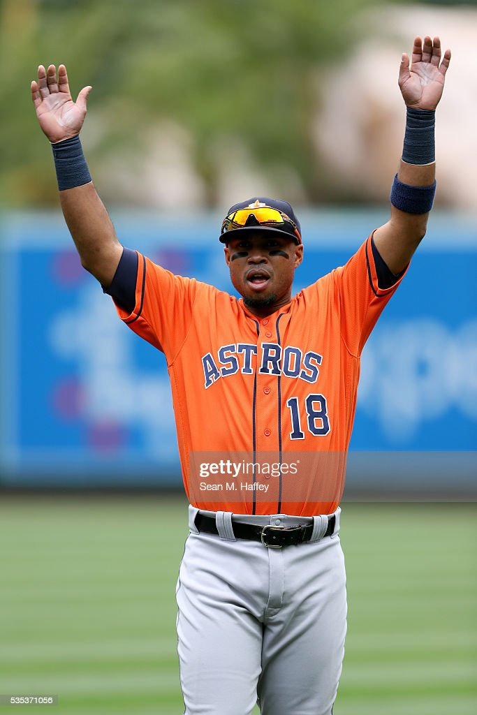 Luis Valbuena #18 of the Houston Astros stretches prior to a baseball game between the Los Angeles Angels of Anaheim and the Houston Astros at Angel Stadium of Anaheim on May 29, 2016 in Anaheim, California.