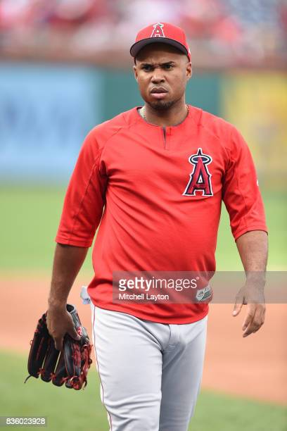 Luis Valbuena of the Los Angeles Angels looks on of Anaheim during batting practice of a baseball game against the Washington Nationals at Nationals...