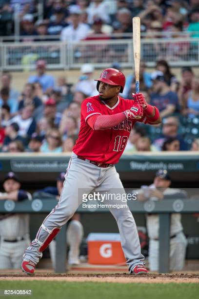 Luis Valbuena of the Los Angeles Angels of Anaheim bats against the Minnesota Twins on July 5 2017 at Target Field in Minneapolis Minnesota The...