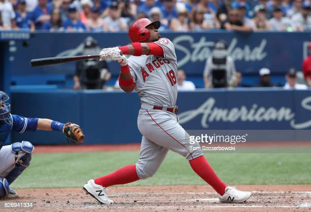 Luis Valbuena of the Los Angeles Angels of Anaheim bats in the eighth inning during MLB game action against the Toronto Blue Jays at Rogers Centre on...