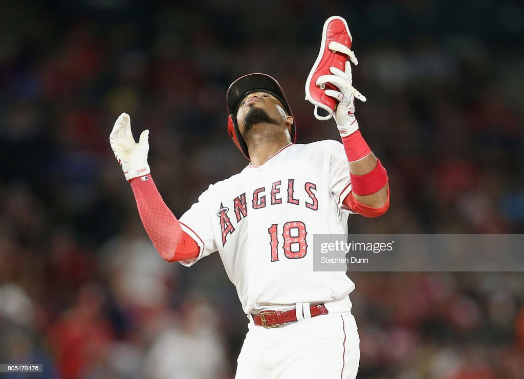 Luis Valbuena #18 of the Los Angeles Angels of Anaheim celebrates on second after hitting double in the seventh inning against the Seattle Mariners at Angel Stadium of Anaheim on July 1, 2017 in Anaheim, California.