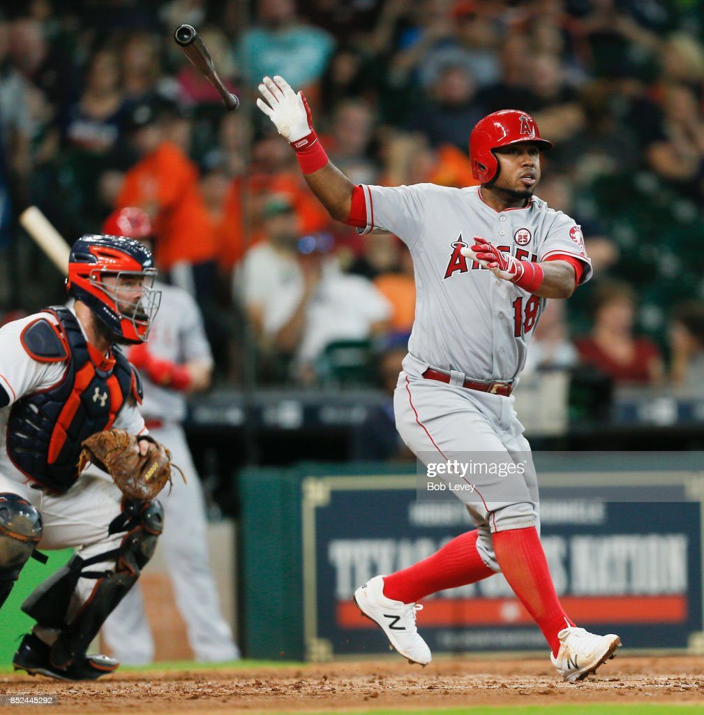 Luis Valbuena #18 of the Los Angeles Angels of Anaheim doubles in the sixth inning against the Houston Astros at Minute Maid Park on September 23, 2017 in Houston, Texas.
