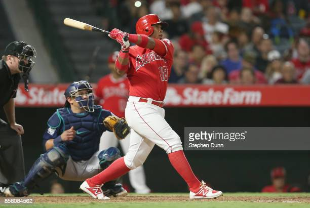 Luis Valbuena of the Los Angeles Angels of Anaheim hits an RBI double in the sixth inning against the Seattle Mariners on September 30 2017 at Angel...