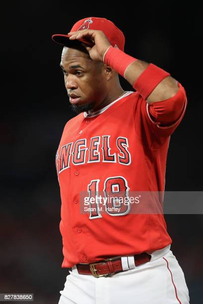 Luis Valbuena of the Los Angeles Angels of Anaheim looks on during a game against the Philadelphia Phillies at Angel Stadium of Anaheim on August 1...