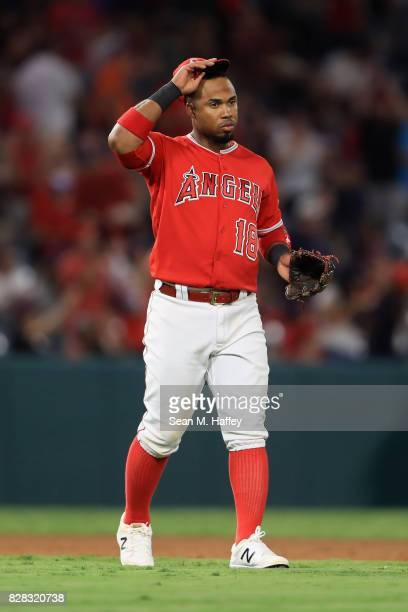 Luis Valbuena of the Los Angeles Angels of Anaheim looks on during a game against the Baltimore Orioles at Angel Stadium of Anaheim on August 8 2017...