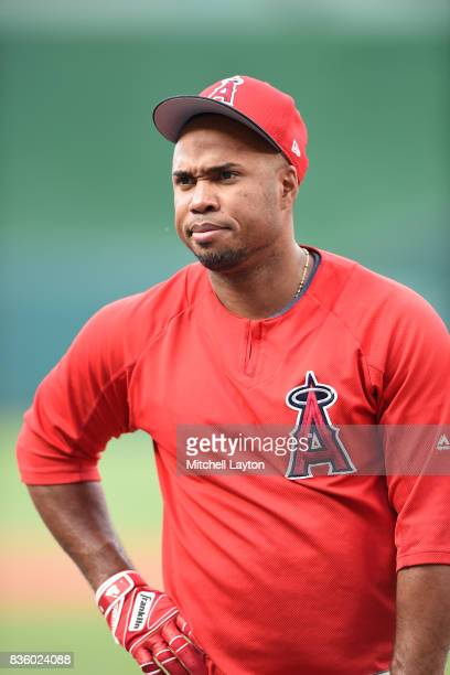 Luis Valbuena of the Los Angeles Angels of Anaheim looks on during batting practice of a baseball game against the Washington Nationals at Nationals...